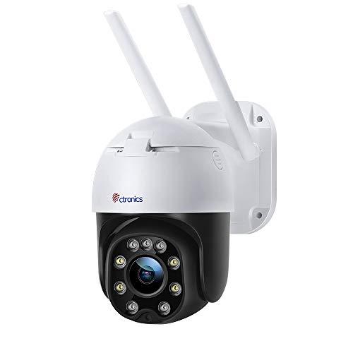 PTZ Überwachungskamera Aussen WLAN, Ctronics Dome IP Kamera Outdoor 1080P, Intelligente Menschliche Erkennung, Automatische Verfolgung, 30m Farbe Nachtsicht, 2-Wege-Audio, SD-Kartenslot, Weiß