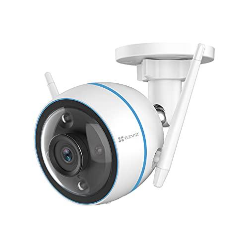 EZVIZ Outdoor WLAN IP Kamera, IP67 wetterfest, 1080P Überwachungskamera für den Außenbereich, mit KI Personenerkennung und Farbnachtsicht, 256GB SD-Kartenslot, Kompatibel mit Alexa, CTQ3N