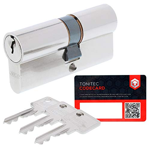 Abus Sicherheitsschloss Profilzylinder C73 gleichschliessend + 3 Schlüssel + ToniTec CodeCard 40 40