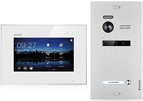 BALTER EVO Video Türsprechanlage ✓ Touchscreen 7 Zoll Monitor ✓ 2-Draht BUS ✓ Türstation für 1 Familienhaus Türklingel ✓ 150° Weitwinkel-Kamera