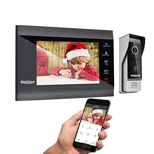 TMEZON WLAN Video Türsprechanlage Türklingel Gegensprechanlage System,7 Zoll 1080P IP Monitor mit Verdrahtet Klingel, Fernentsperrung,Snapshot/Aufnahme,4 Draht Technik,1 Familie,Tuyasmart App