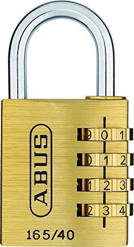 ABUS Zahlenschloss 165/40 - Vorhängeschloss aus Messing - mit individuell einstellbarem Zahlencode - 20128 - Level 4 - Messingfarben