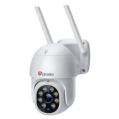 Ctronics PTZ Überwachungskamera Aussen,1080P Kabellose IP WLAN Outdoor Kamera mit Automatische Verfolgung, 30m Nachtsicht in Farbe, 2-Wege Audio, IP66 Wasserdicht, Unterstützt 64GB SD-Karten