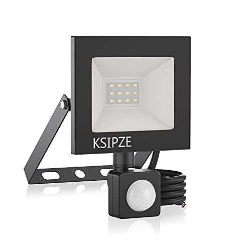 KSIPZE 10W LED Strahler Aussenleuchte mit bewegungsmelder 6000K Kaltweiß Superhell IP65 Wasserdicht strahler LED Scheinwerfer