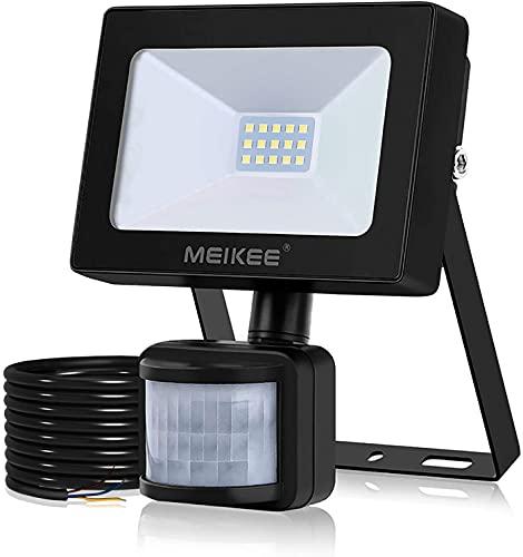 MEIKEE 10W LED Strahler mit Bewegungsmelder Superhell 1000LM LED Fluter IP66 Wasserdicht Außenstrahler 6000K Tageslichtweiß Scheinwerfer Außenbeleuchtung für Hof, Garage, Garten