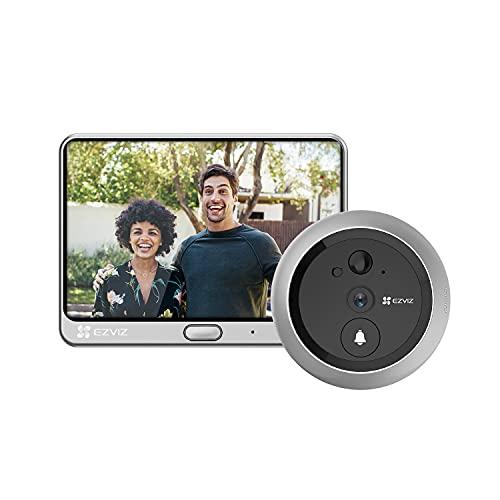 EZVIZ Video Türklingel Kamera, 4,3 Zoll WLAN Monitor Türsprechanlage, mit 4600 mAh Wiederaufladbare Batterie, PIR Bewegungserkennung, zwei-Wege-Audio, Nachtsicht, Monitor inklusive, DP1C