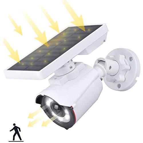 Dummy Kamera mit Solarlampe Aussen mit Bewegungsmelder, Solarbetriebene Kamera Attrappe Überwachungskamera IP Kamera IP66 wasserdicht mit Solarleuchte für Garten Türöffnung Korridor